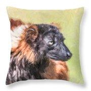 Red-ruffed Lemur Throw Pillow