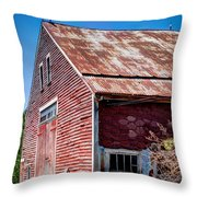 Red Rustic Weathered Barn Throw Pillow