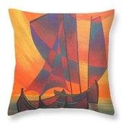 Red Sails In The Sunset Throw Pillow by Tracey Harrington-Simpson