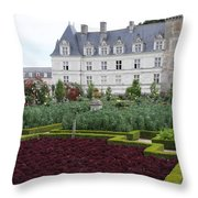 Red Salad And Cabbage Garden - Chateau Villandry Throw Pillow