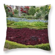 Red Salad And Roses - Chateau Villandry Garden Throw Pillow
