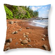 Red Sand Seclusion - The Exotic And Stunning Red Sand Beach On Maui Throw Pillow