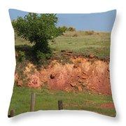 Red Sandstone Hillside With Grass Throw Pillow by Robert D  Brozek
