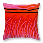 Red Scape Throw Pillow