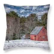 Red Shed In Maine Throw Pillow by Guy Whiteley