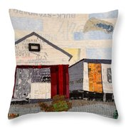 Red Shed Orange Door In Yellow House Pa Throw Pillow