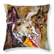 Red Shoed Ponies Throw Pillow