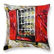 Red Shutters Throw Pillow