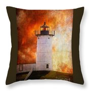 Red Sky At Morning - Nubble Lighthouse Throw Pillow by Lois Bryan