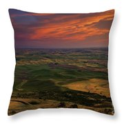 Red Sky Over The Palouse Throw Pillow