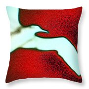 Red Sky Seagull Throw Pillow