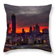 Red Sky Sunrise Midtown Atlanta Throw Pillow