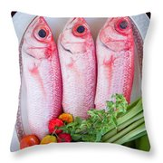 Red Snappers Throw Pillow