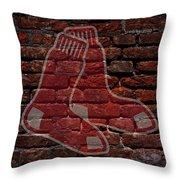Red Sox Baseball Graffiti On Brick  Throw Pillow