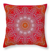 Red Space Flower Throw Pillow