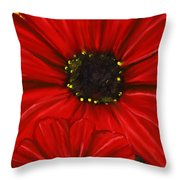 Red Spectacular- Red Gerbera Daisy Painting Throw Pillow