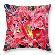 Red Spider Lily Flower Painting Throw Pillow