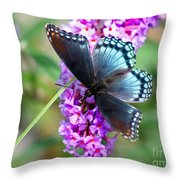 Red Spotted Purple Butterfly On Butterfly Bush Throw Pillow
