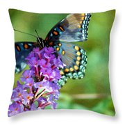 Red Spotted Purple Butterfly Photopainting Throw Pillow