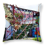 Red Stair Rails Throw Pillow