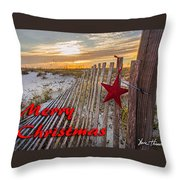 Red Star On Fence Throw Pillow