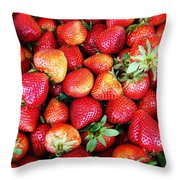 Red Strawberries Throw Pillow