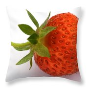 Red Strawberry With Stem Throw Pillow