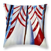 Red Stripe Sails Throw Pillow
