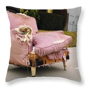 Red Striped Chair Throw Pillow