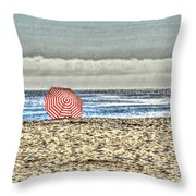 Red Striped Umbrella At The Beach Throw Pillow