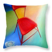 Red Studio Chair Throw Pillow