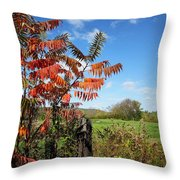 Red Sumac Tree Throw Pillow
