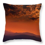 Red Sumer Sunset Throw Pillow