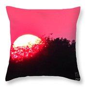 Red Summer Sunset Throw Pillow