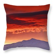 Red Sunrise Over National Park Sierra Nevada Throw Pillow