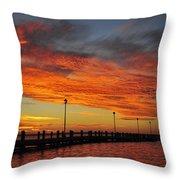 Red Sunset Pier Seaside Nj Throw Pillow