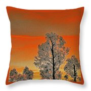 Red Sunset With Trees Throw Pillow