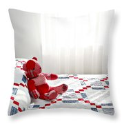 Red Teddy Bear Throw Pillow
