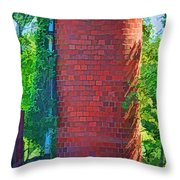 Red Tile Silo Digital Paint Throw Pillow