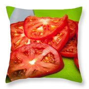 Red Tomato Slices And Knife On Green Chopping Board Throw Pillow