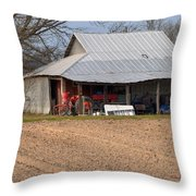Red Tractor In A Tin Roofed Shed Throw Pillow