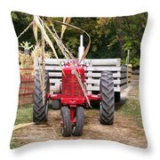 Red Tractor Ready To Roll Throw Pillow