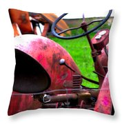 Red Tractor Rural Photography Throw Pillow