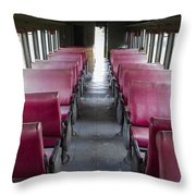 Red Train Seats Throw Pillow