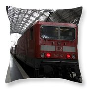 Red Train To The Main Train Station In Frankfurt Am Main Germany Throw Pillow