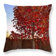 Red Tree At Sunset Throw Pillow