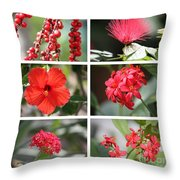 Red Tropicals Collage Throw Pillow
