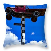 Red Truck With Cross Throw Pillow