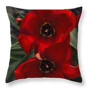 Red Tulip Pair Throw Pillow