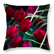 Red Tulip River Throw Pillow